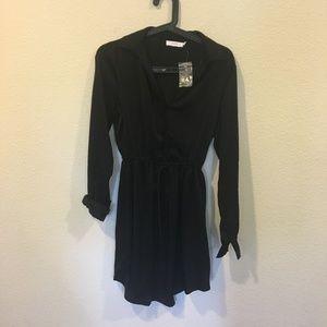 Lush black long sleeve collar dress with tie